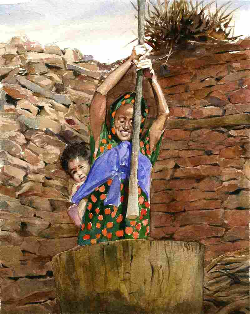 Pounding millet, the staple food in Mali, depicted by illustrator E.B. Lewis.