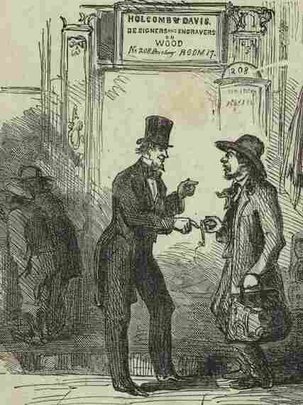 A New York City swindler tries to cheat a man from the country, 1868.