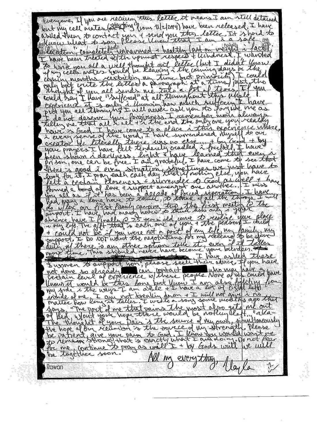 Letter from Kayla Mueller.