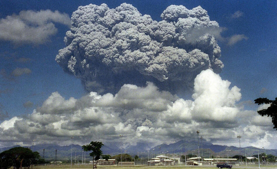 The eruption of Mount Pinatubo in the Philippines in 1991 spewed almost 20 million tons of sulfur dioxide into the atmosphere, causing worldwide temperatures to drop half a degree on average. (Arlan Naeg/AFP/Getty Images)