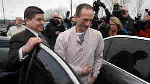 Christopher Abernathy (center) is released from the Stateville Correctional Center on Wednesday in Crest Hill, Ill.