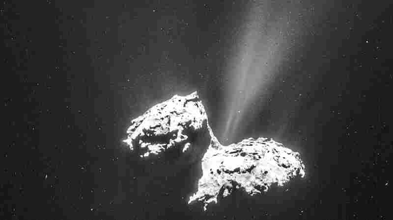 An image of Comet 67P/C-G taken on Feb. 6 from a distance of about 77 miles to the comet center.