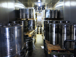 When the homebrewing gets good, the teachers turn pro. Kegs of Line 51 beer fill an Oakland warehouse.