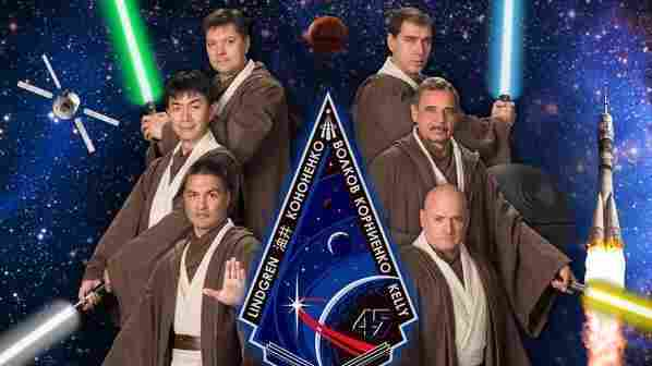 Expedition 45 poses for a Star Wars themed portrait
