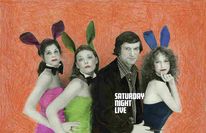 "Hugh Hefner poses with (from left) Gilda Radner, Jane Curtin and Laraine Newman in 1977. Edie Baskin says she remembers using ""markers, pencils, oils, colored chalk"" to create images like these."