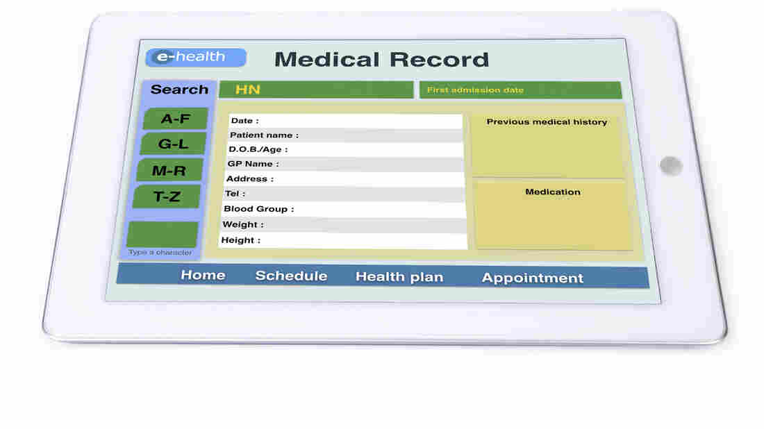 Medical record display on tablet for e-health technology.