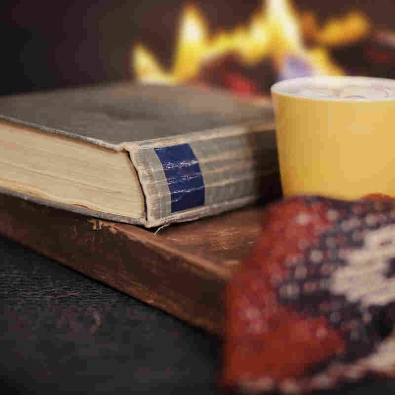 A book sits in front of a fire.