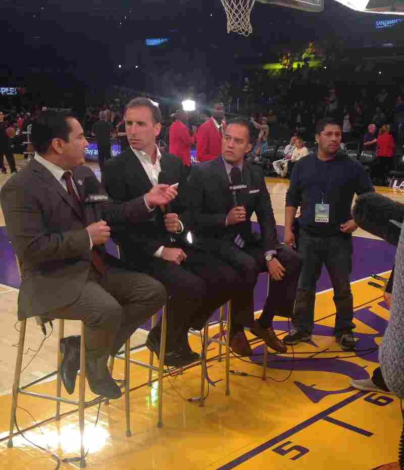 Before a Lakers game this season, Adrián García Márquez and the rest of the TWC Deportes crew tapes a pre-game intro.