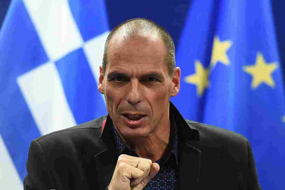 Greek Finance Minister Yanis Varoufakis gives a press conference on Monday at the end of an Eurogroup finance ministers meeting at the European Council in Brussels.