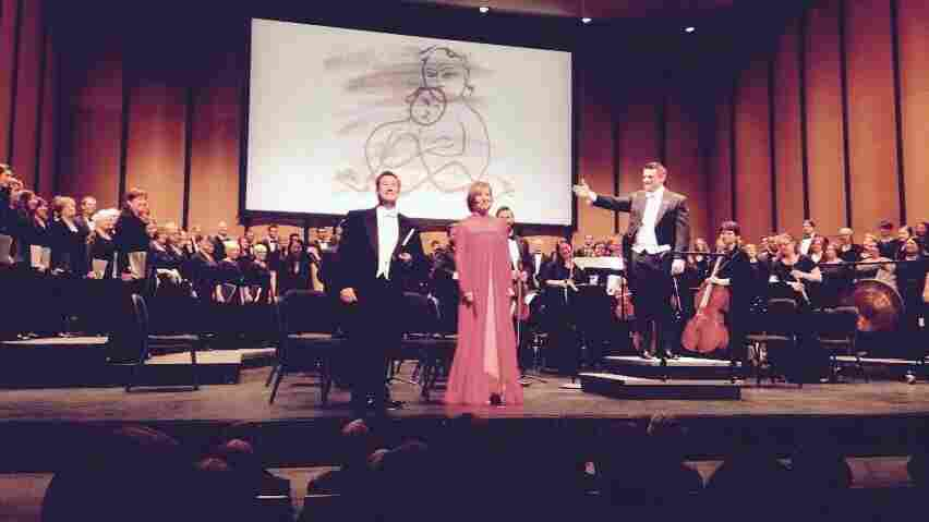 Composer Jonathon Welch (left), mezzo Frederica von Stade and conductor Jonathan Palant after the U.S. premiere of Street Requiem.