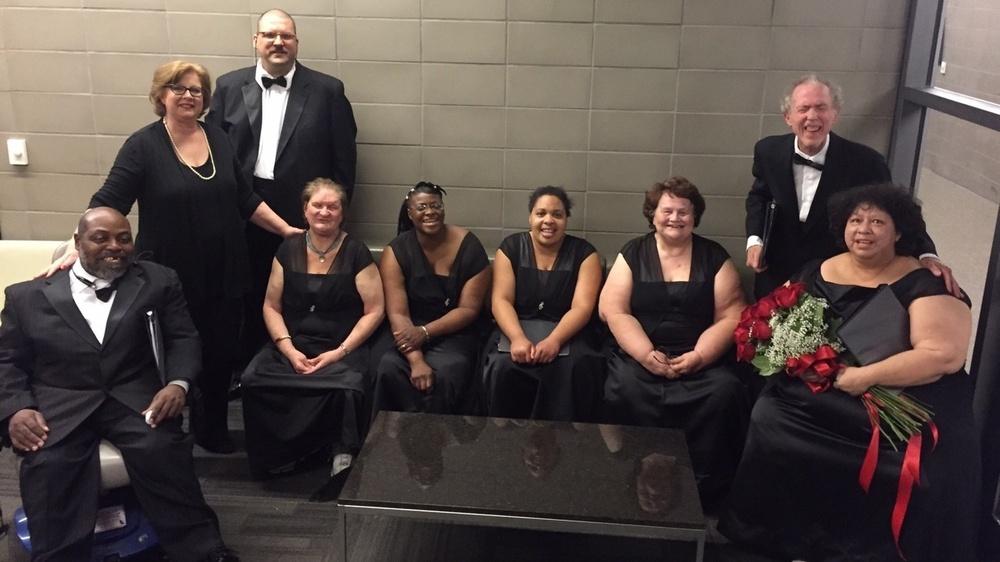 Members of the Dallas Street Choir in formalwear.