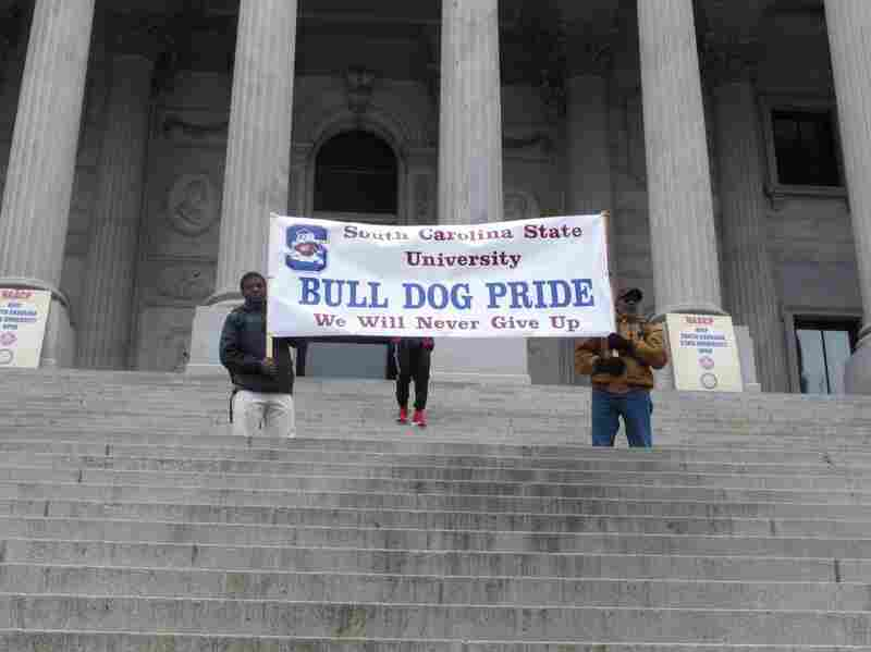 Supporters of South Carolina State University rallied at the state's capitol on Monday to protest a proposal that would close the historically black college for two years.