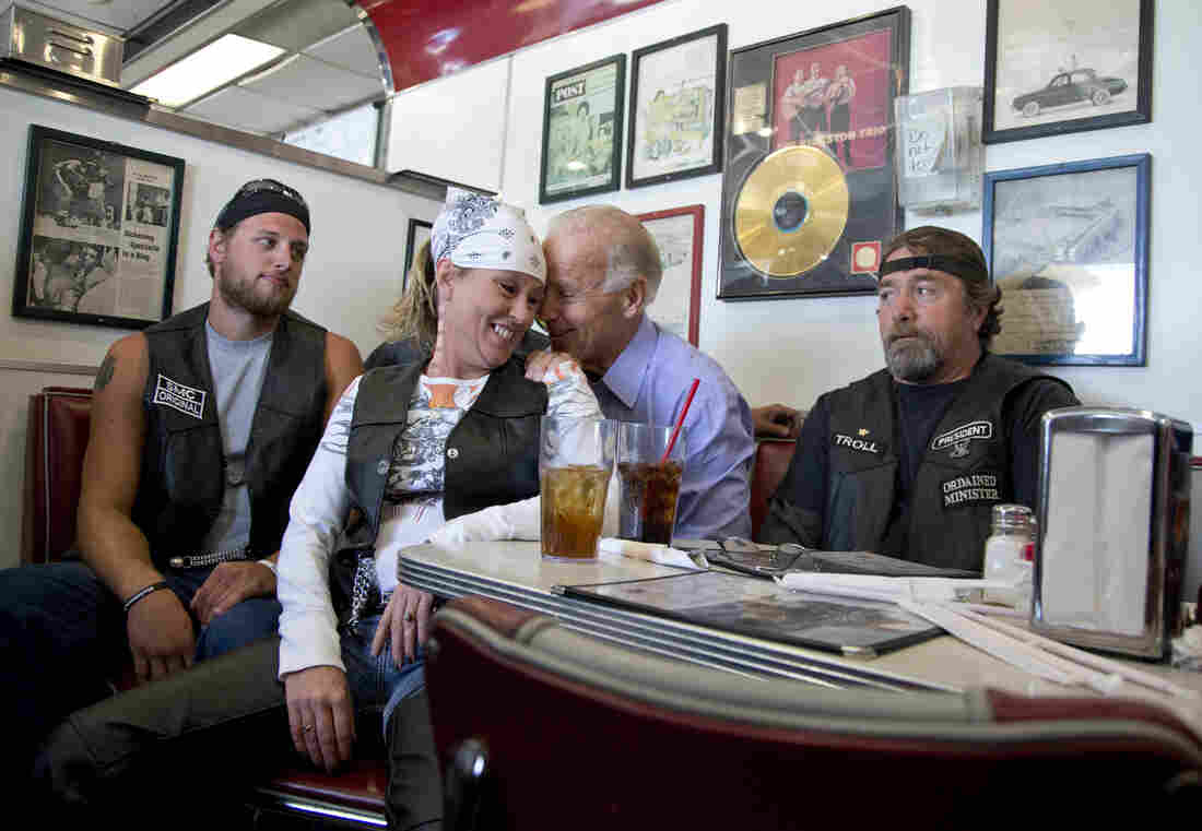 Vice President Joe Biden talks to customers during a stop at Cruisers Diner in Seaman, Ohio, in 2012.