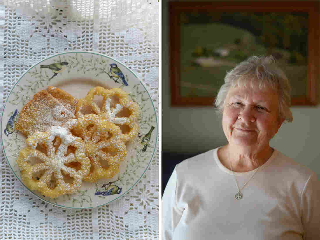 (Left) Eleanor Betler's rosettes are made from her grandmother's recipe. (Right) Eleanor Betler