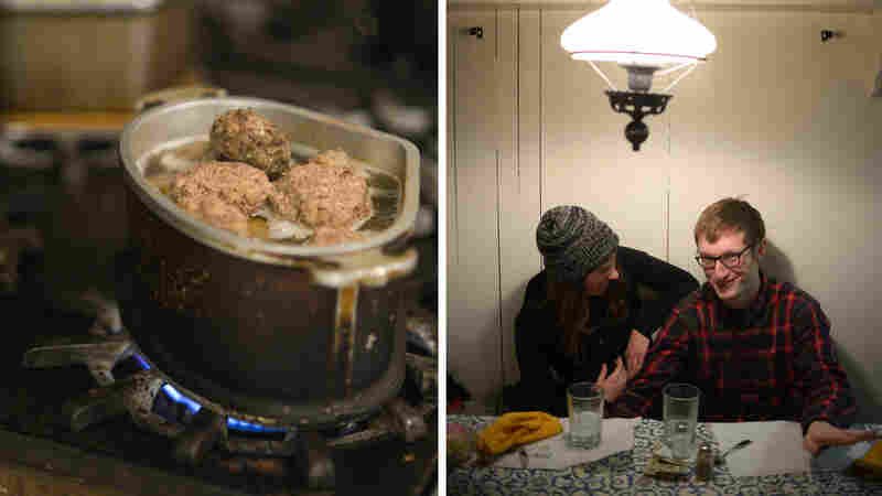 (Left) Sauerkraut and sausage (foreground) cook on the stove at the Hutte Restaurant. (Right) Diners Roxanne Singhisen and Nick Lockyer of Pittsburgh chat at the Hutte.