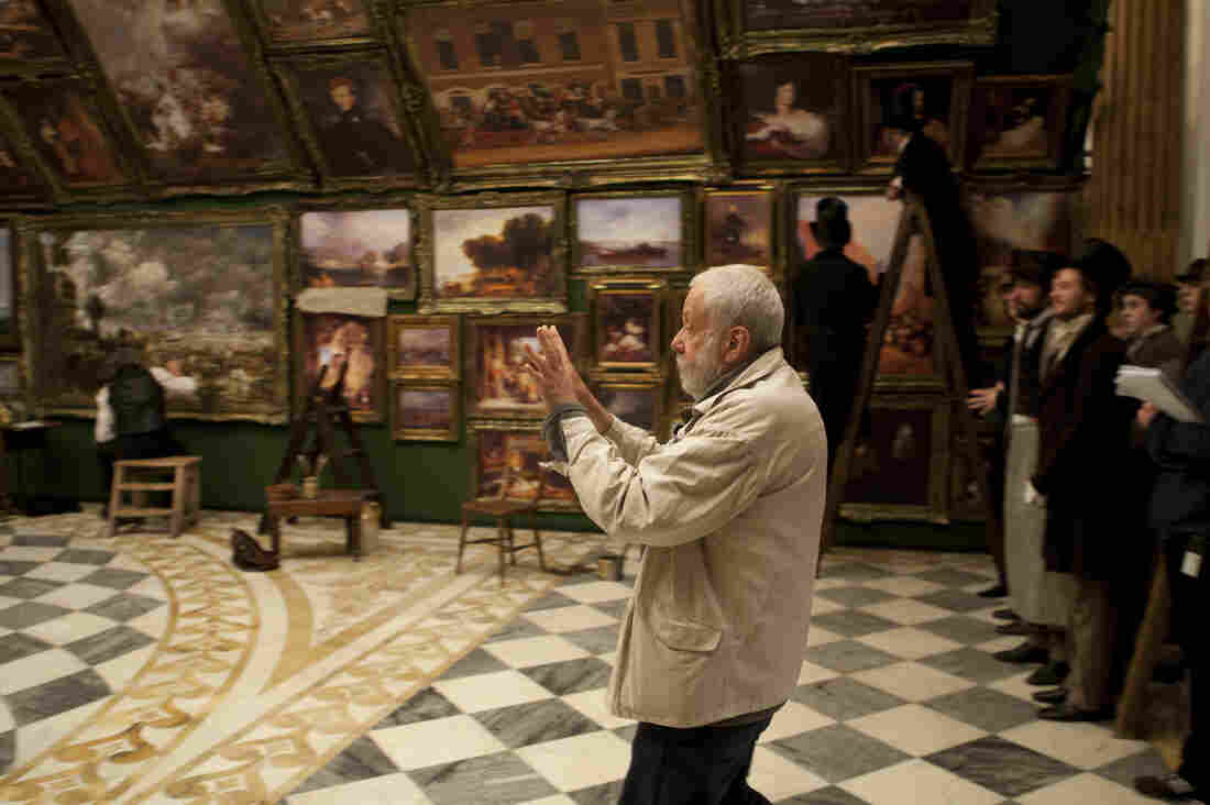 Director Mike Leigh on the set of Mr. Turner.