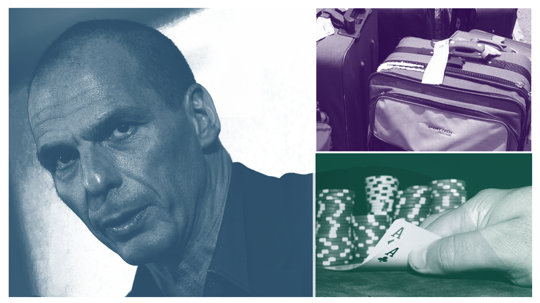Finance Minister of Greece, Yanis Varoufakis, airline luggage and a pair of aces.