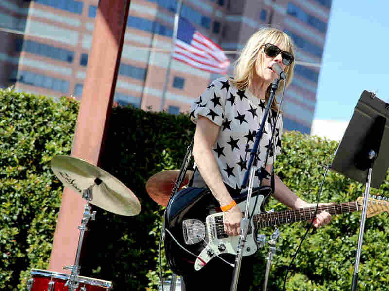 """Kim Gordon performs onstage during the """"Mike Kelley"""" Members' Opening at The Geffen Contemporary At MOCA."""