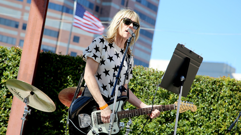 "Kim Gordon performs onstage during the ""Mike Kelley"" Members' Opening at The Geffen Contemporary At MOCA. (Getty Images for MOCA)"