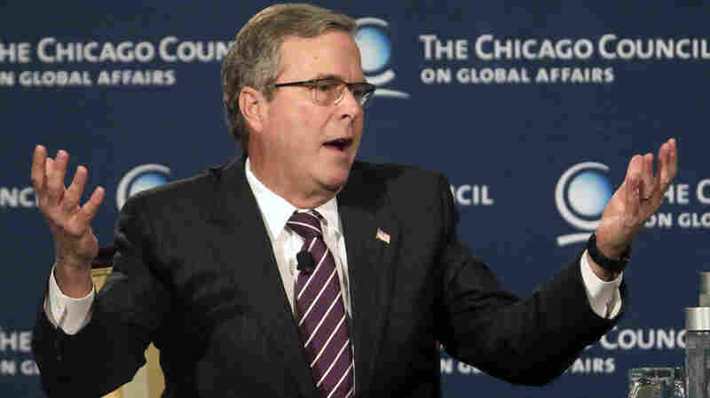 Former Florida Gov. Jeb Bush answers questions Wednesday after speaking to the Chicago Council on Global Affairs. The likely 2016 presidential candidate says he will be guided by his own thinking and experiences when it comes to foreign policy questions.