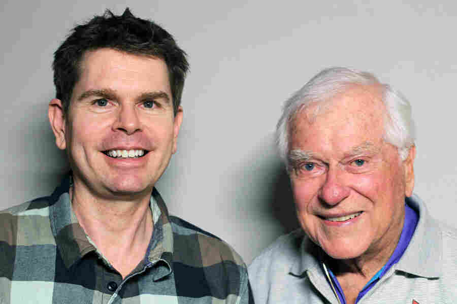 Stu Maddux (left) and Bill Jones on a recent visit to StoryCorps. Jones is thought to have been the first single man to adopt a child in California. His son has since passed away.