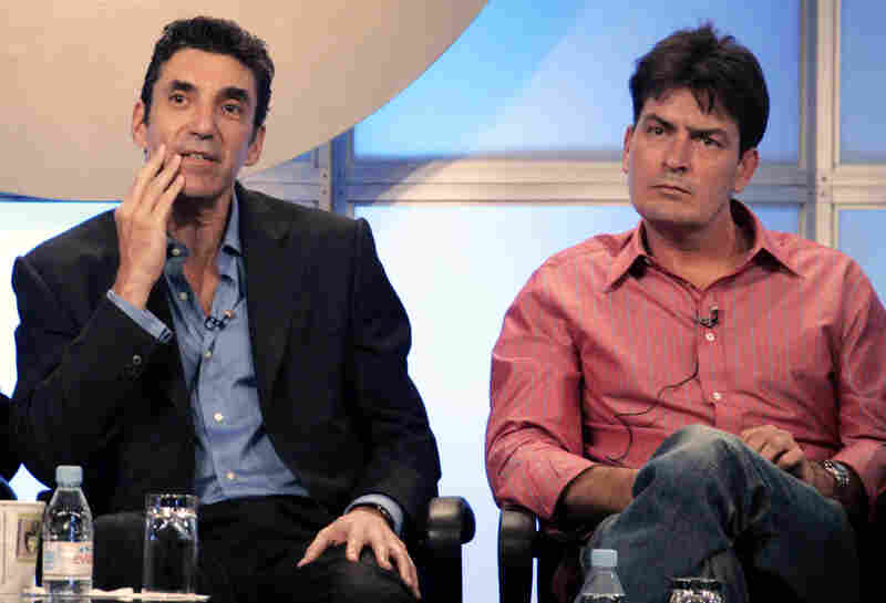 """Chuck Lorre, left, executive producer of CBS' """"Two and Half Men,"""" at a 2005 press conference with then-co-star Charlie Sheen."""