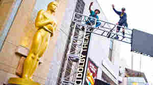 Preparations continue for the 87th Annual Academy Awards at the Hollywood & Highland Center in Hollywood, CA.