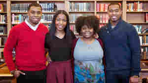 """""""Howard Project"""" participants (left to right) Kevin Peterman, Taylor Davis, Ariel Alford and Leighton Watson in the Howard University library."""