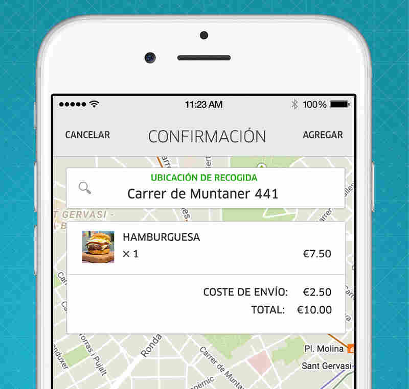 A screen image from UberEATS. In Spain, Uber is trying to reinvent itself as a food delivery service.