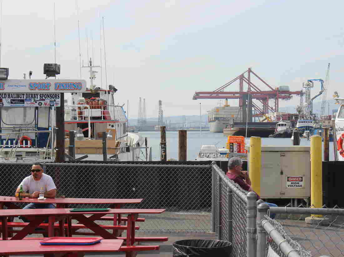 After tentative port deal container ships still line the for Long beach fish market