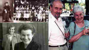 Ruth Hálová, a survivor of the Holocaust (clockwise): Ruth as a child dressed up for a play; Ruth's 1st grade class taken in 1932; Ruth and husband Milan Hala in India in the 1990's; Ruth and her mother in (the then) Czechoslovakia after the war.
