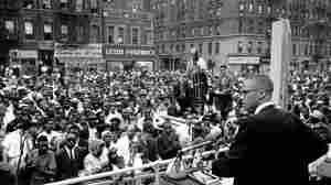 Malcolm X addresses a rally in Harlem in New York City on June 29, 1963.