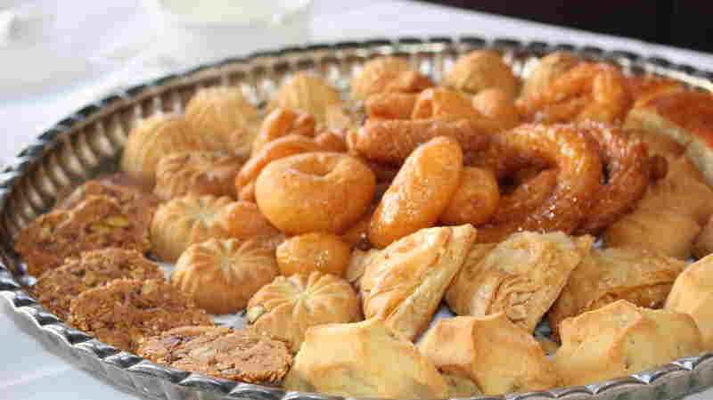 Traditional desserts, like these served in 2010 at the original Naranj restaurant in Damascus, offer sweet, familiar flavors at the restaurant's various locations in the Middle East. A platter like this shows up at the end of every meal at Naranj, and all the pastries are made in-house.