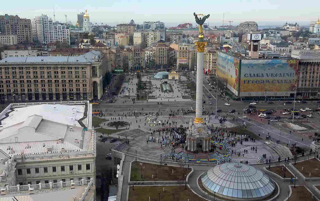 The Maidan — or Independence Square — lies at the heart of Ukraine's capital city, Kiev. The name has become synonymous with the protests that ousted Ukraine's pro-Russian president last year.