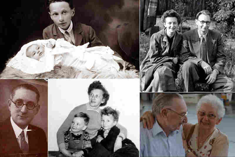 Lilli Tauber, a survivor of the Holocaust (clockwise): Lilli as a baby with her brother Eduard Schischa in 1927; Lilli and her husband, Max Tauber, in 1954; Lilli and Max in 2009; Lilli and her sons Willi and Heinz in 1959; Harry Watts, Lilli's friend and benefactor who helped her and other Jewish children emigrate to England after Kristallnacht.