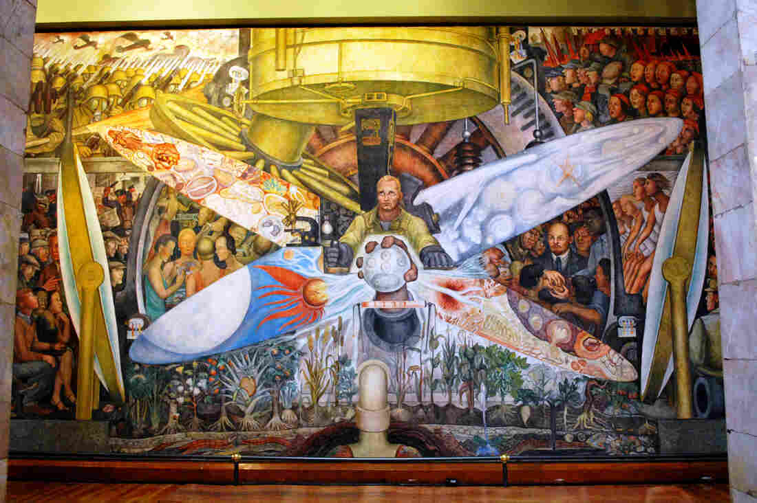Diego Rivera recreated his Rockefeller Center mural for Mexico City's Palacio de Bellas Artes. Man, Controller of the Universe shows a worker at the crossroads of industry, science and the competing political ideologies of the time — capitalism and communism.