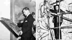 (Left) Nelson Rockefeller examines a painting at New York's Museum of Modern Art in 1939. (Right) Diego Rivera, seen here in 1933, works on a panel of his mural in the lobby of Rockefeller Center.