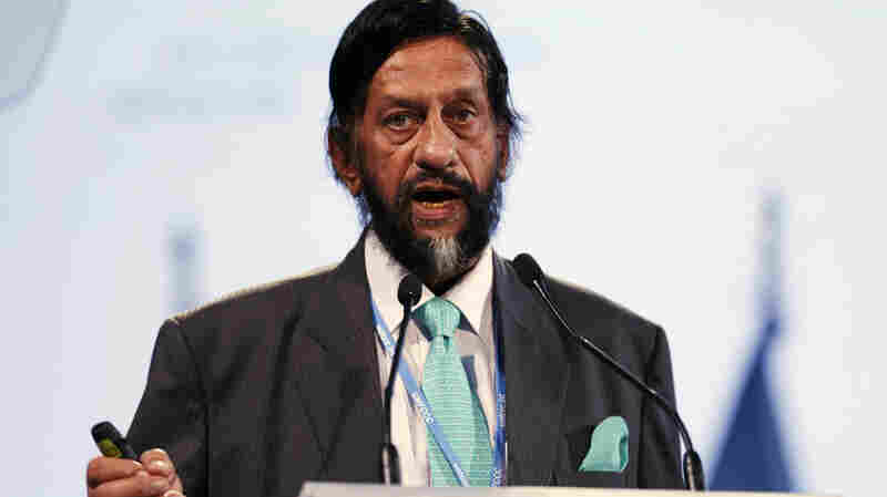 Rajendra K. Pachauri speaks at the U.N. Climate Change Conference in Lima, Peru, on Dec. 11, 2014. He is stepping down as chairman of the Intergovernmental Panel on Climate Change.