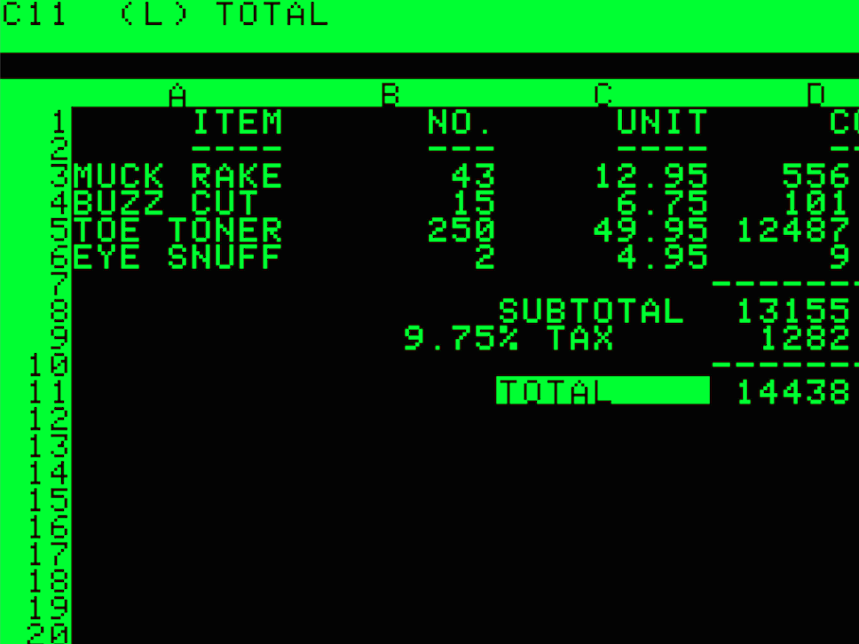 VisiCalc screenshot