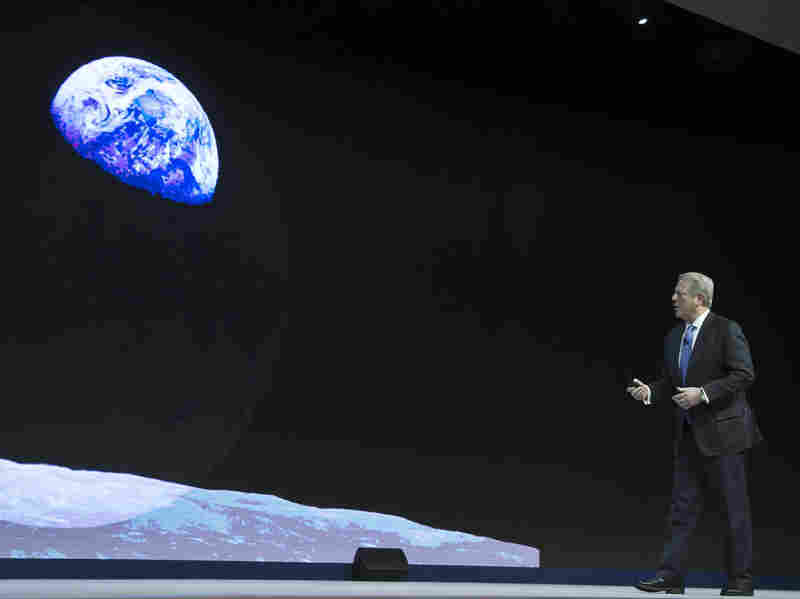 Former Vice President Al Gore talks about climate change at the World Economic Forum in Davos, Switzerland, in January.