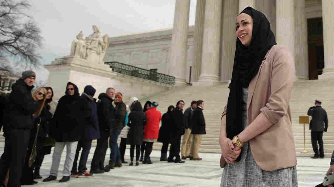 Samantha Elauf outside the Supreme Court Wednesday.