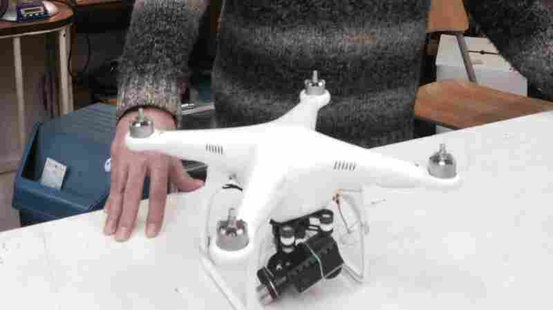 A drone is displayed Wednesday at Paris store Azur Modelisme. Law enforcement officials in the city are concerned about recent unexplained drone fly-bys of high-security sites, including the Eiffel Tower and the U.S. embassy.