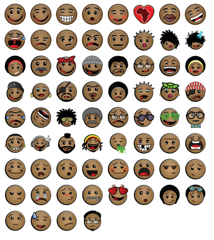 Here's a set of Afro-centric emoticons that Oju Africa's CEO thinks trumps Apple's new diverse emojis.