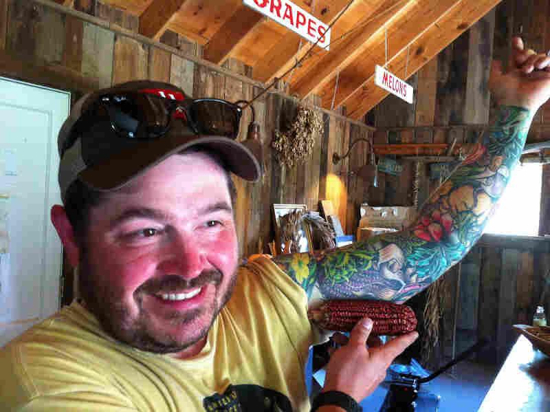 Chef Sean Brock of Charleston, S.C., shows off the inspiration for his Jimmy Red corn tattoo.