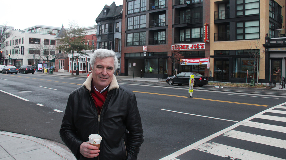 Chris Leinberger, an urbanist scholar at the Brookings Institution, outside The Harper apartments in Washington. Micro-apartments are often situated where young singles want to live, he says: near shops, coffee houses and restaurants.