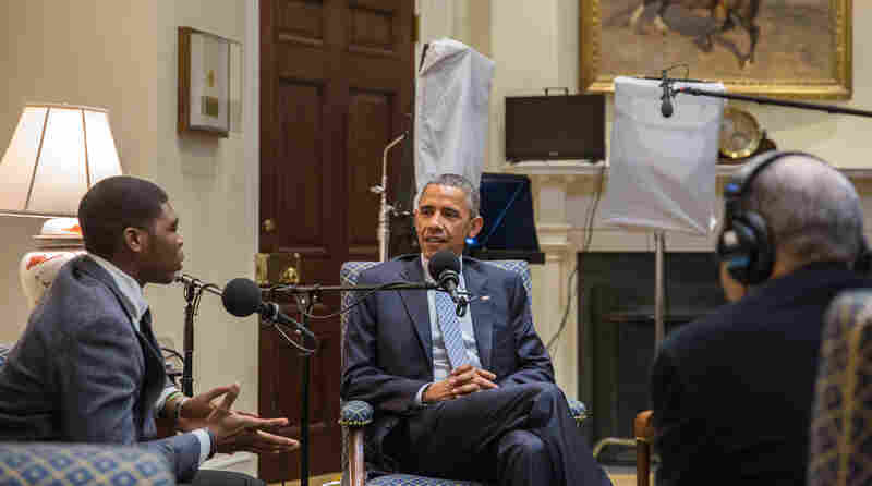 """President Barack Obama participates in a """"My Brother's Keeper"""" StoryCorps interview with Noah McQueen in the Roosevelt Room of the White House on Feb. 20."""