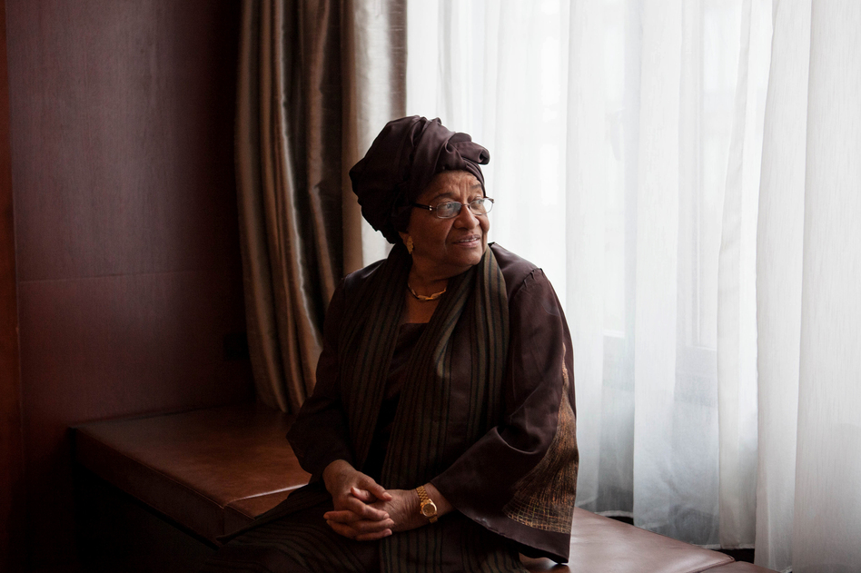 Liberian President Ellen Johnson-Sirleaf, photographed in Washington, D.C., on February 26. (Ariel Zambelich/NPR)
