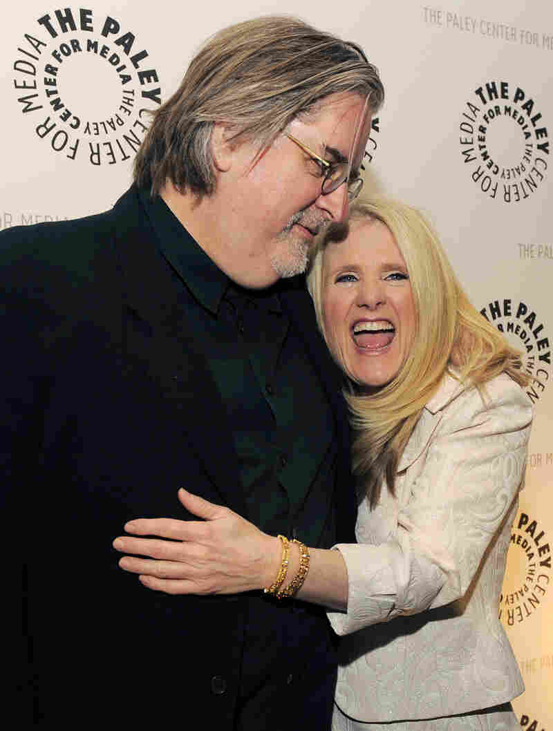 Nancy Cartwright with The Simpsons creator Matt Groening. When Cartwright auditioned for the voice of Bart Simpson, Groening hired her on the spot.