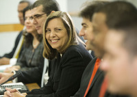 Josefina Vidal, director general of the U.S. division at Cuba's Foreign Ministry, smiles at the start of the Cuba talks at the State Department in Washington, on Friday.