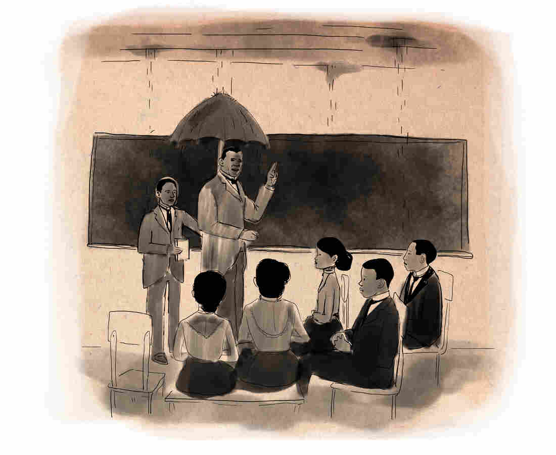 Tuskegee began in 1881 with 30 students in a rundown church and a shanty. Its early buildings were in such bad shape that on rainy days a student had to hold an umbrella over Washington while he lectured.